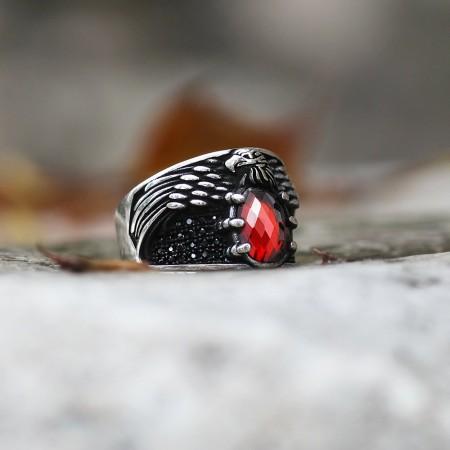 Tesbihane - 925 Ayar Gümüş Kırmızı Zirkon Taşlı Kartal Pençesi Yüzük