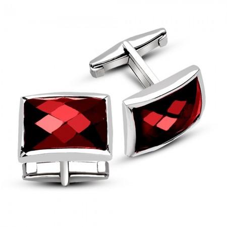 Tesbihane - 925 Ayar Gümüş Kırmızı Zirkon Taşlı Kol Düğmesi