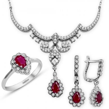 Tesbihane - 925 Ayar Gümüş Kırmızı Zirkon Taşlı Kraliçe Set