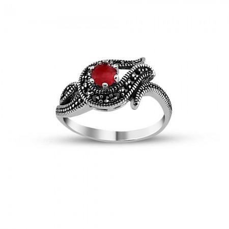 - 925 Ayar Gümüş Kırmızı Zirkon Taşlı Lale Yüzük