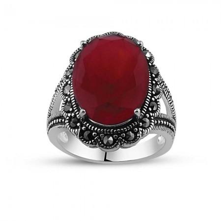 Tesbihane - 925 Ayar Gümüş Kırmızı Zirkon Taşlı Otantik Yüzük