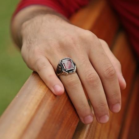 925 Ayar Gümüş Kırmızı Zirkon Taşlı Payitaht Yüzük - Thumbnail