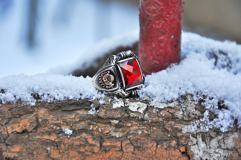 925 Ayar Gümüş Kırmızı Zirkon Taşlı Payitaht Yüzük
