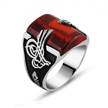 Tesbihane - 925 Ayar Gümüş Kırmızı Zirkon Taşlı Tuğra Detaylı Yüzük