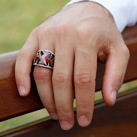 Tuğra İşlemeli Kırmızı Zirkon Taşlı 925 Ayar Gümüş Erkek Yüzük - Thumbnail