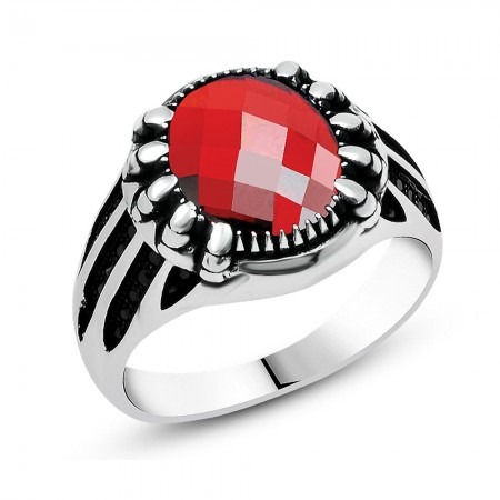 Tesbihane - Kırmızı Oval Zirkon Taşlı 925 Ayar Gümüş Erkek Yüzük