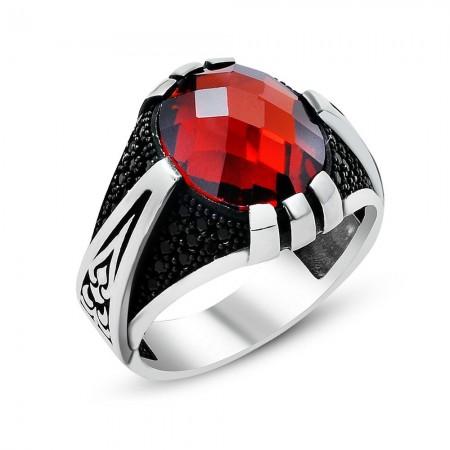 Tesbihane - 925 Ayar Gümüş Kırmızı Zirkon Taşlı ve Pençe Desenli Yüzük