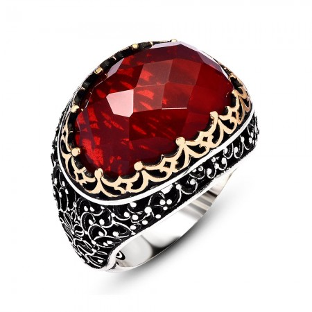 Tesbihane - Kırmızı Zirkon Taşlı 925 Ayar Gümüş Kral Tacı Yüzük