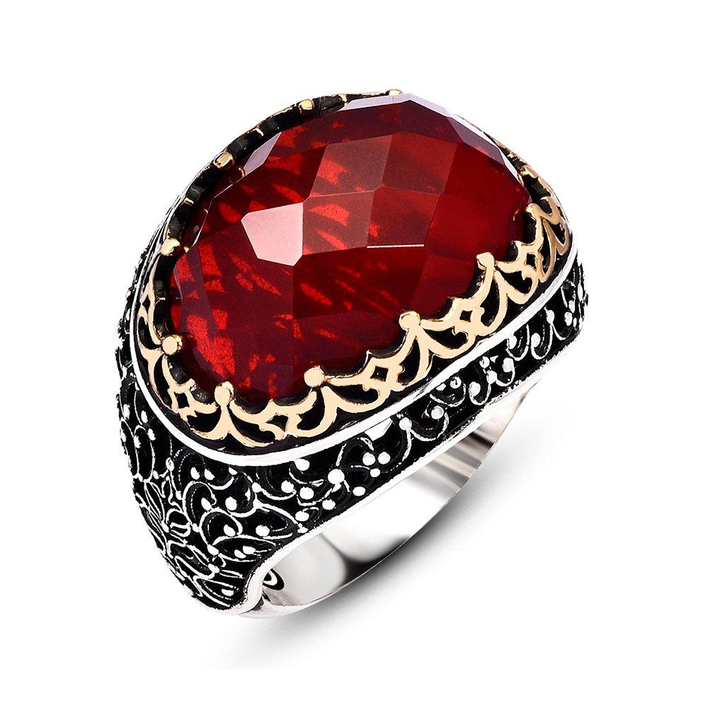Kırmızı Zirkon Taşlı 925 Ayar Gümüş Kral Tacı Yüzük