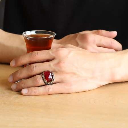 Kırmızı Zirkon Taşlı 925 Ayar Gümüş Kral Tacı Yüzük - Thumbnail