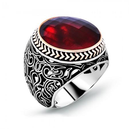 - Kırmızı Zirkon Taşlı 925 Ayar Gümüş Erkek Yüzük (M-2)