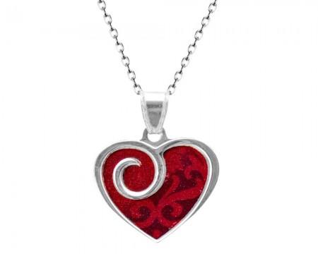Tesbihane - 925 Ayar Gümüş Kırmzı Kalp Kolye