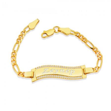 - 925 Ayar Gümüş Zirkon Taşlı Gold Renk İsim Yazılı Çocuk Bileklik (M-1)