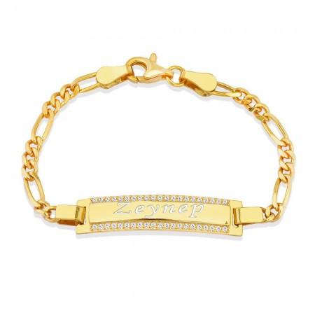 Tesbihane - 925 Ayar Gümüş Zirkon Taşlı Gold Renk İsim Yazılı Çocuk Bileklik (M-2)