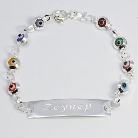 Tesbihane - 925 Ayar Gümüş Göz Tasarım Kişiye Özel İsim Yazılı Çocuk Bileklik (M-1)