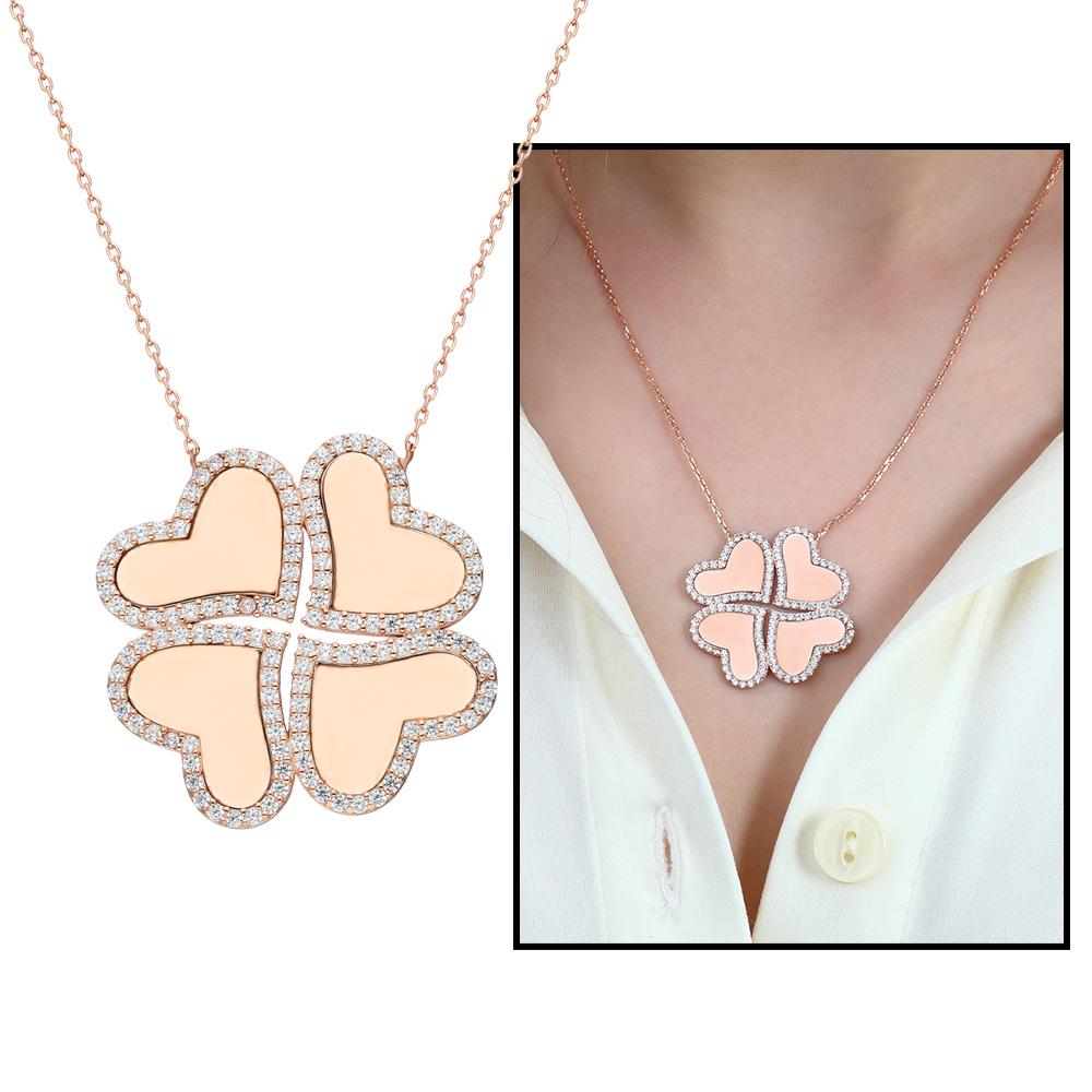 Dört Kalp Yonca Tasarım Kişiye Özel İsim Yazılı 925 Ayar Gümüş Kolye