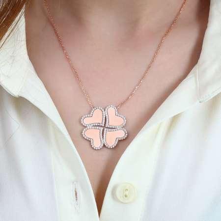 Dört Kalp Yonca Tasarım Kişiye Özel İsim Yazılı 925 Ayar Gümüş Kolye - Thumbnail
