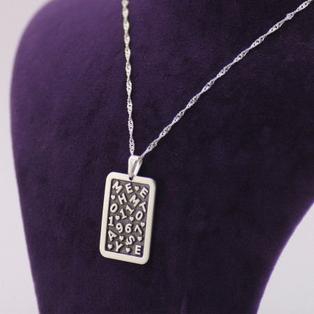 925 Ayar Gümüş Dörtgen Tasarım Kişiye Özel İsim ve Tarih Yazılı Kolye - Thumbnail