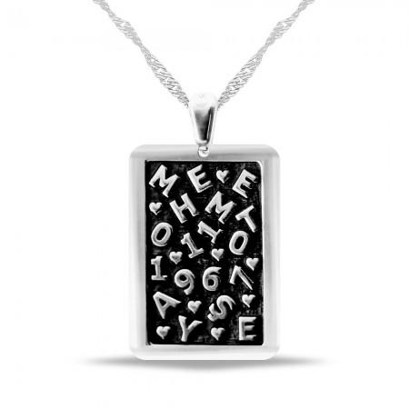 Tesbihane - Dörtgen Tasarım Kişiye Özel İsim ve Tarih Yazılı 925 Ayar Gümüş Kolye