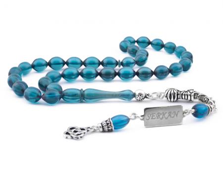 Tesbihane - 925 Ayar Gümüş Kişiye Özel Püsküllü Mavi Sıkma Kehribar Tesbih