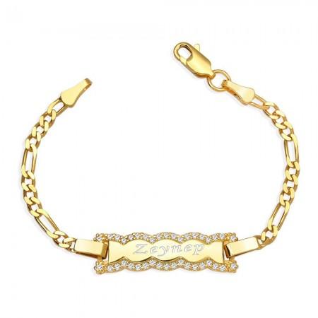Tesbihane - 925 Ayar Gümüş Zirkon Taşlı Dalga Tasarım Gold Renk İsim Yazılı Çocuk Bileklik