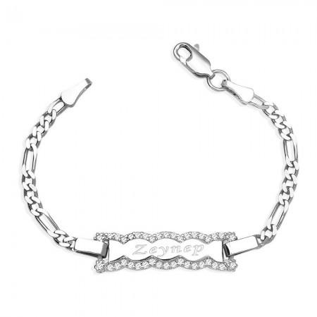 Tesbihane - 925 Ayar Gümüş Zirkon Taşlı Dalga Tasarım İsim Yazılı Çocuk Bileklik