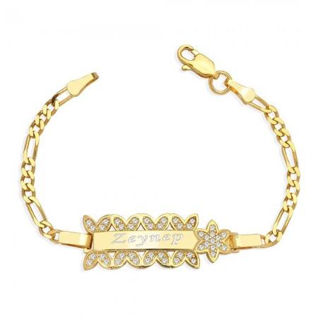Tesbihane - 925 Ayar Gümüş Zirkon Taşlı Gold Renk Çiçek Tasarım İsim Yazılı Çocuk Bileklik