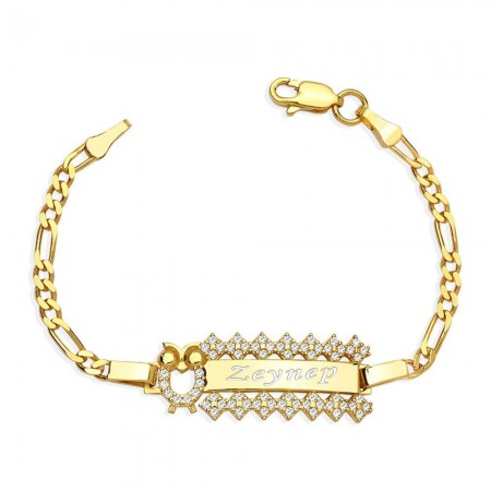 Tesbihane - 925 Ayar Gümüş Zirkon Taşlı Gold Renk Baykuş Tasarım İsim Yazılı Çocuk Bileklik