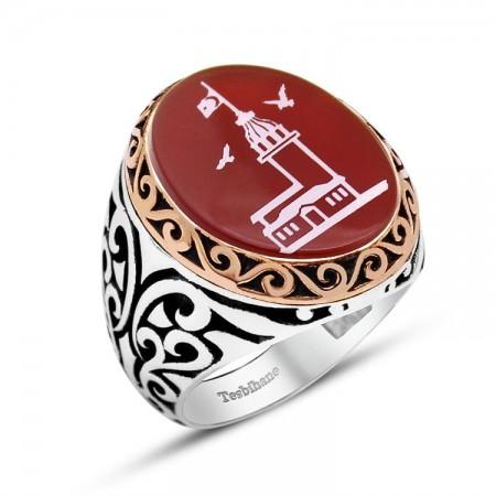 Tesbihane - 925 Ayar Gümüş Kız Kulesi Desenli Akik Taşlı Yüzük