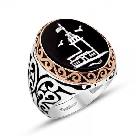 Tesbihane - 925 Ayar Gümüş Kız Kulesi Desenli El İşçiliği Oniks Taşlı Yüzük