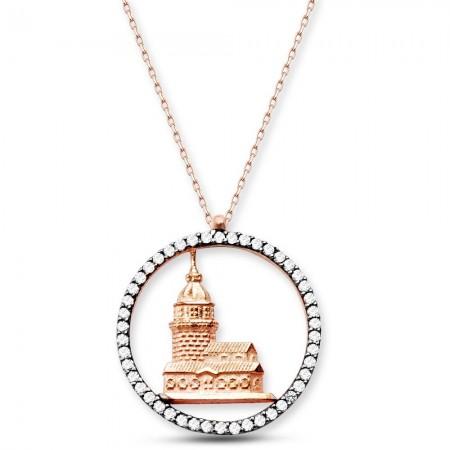 - 925 Ayar Gümüş Kız Kulesi Kolye