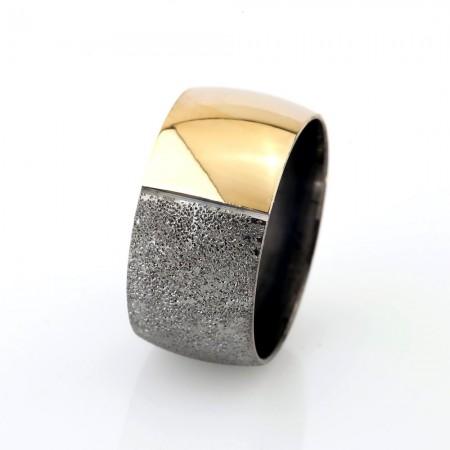Tesbihane - Gold-Gri Renk Bombeli 925 Ayar Gümüş Bayan Alyans
