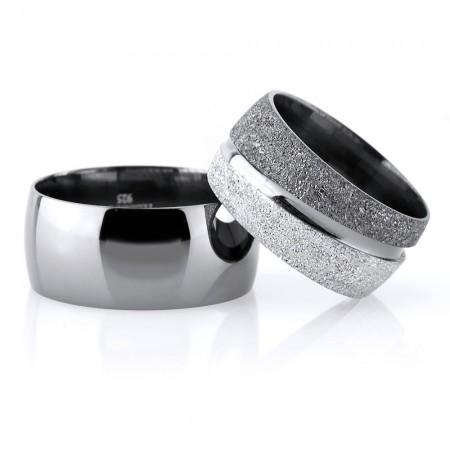 Tesbihane - Klasik Model Su Yolu Tasarım Gri Renk 925 Ayar Gümüş Çift Alyans