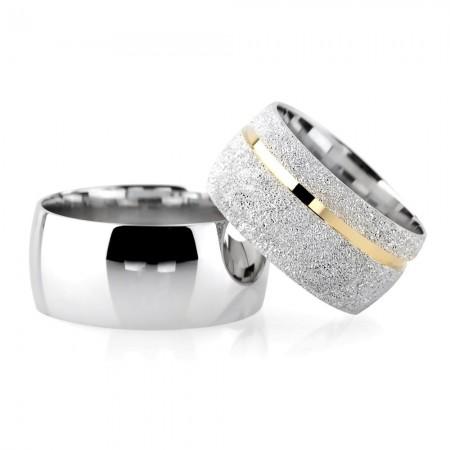- Klasik Model Şeritli Tasarım 925 Ayar Gümüş Çift Alyans