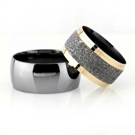 - Klasik Model Gri-Gold Renk 925 Ayar Gümüş Çift Alyans