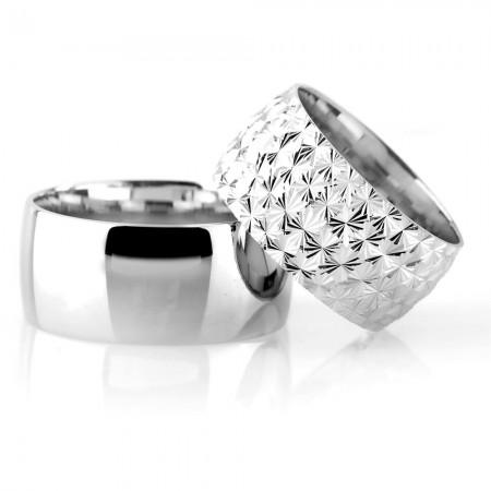 Tesbihane - Klasik Model Kutup Yıldızı Tasarım 925 Ayar Gümüş Çift Alyans