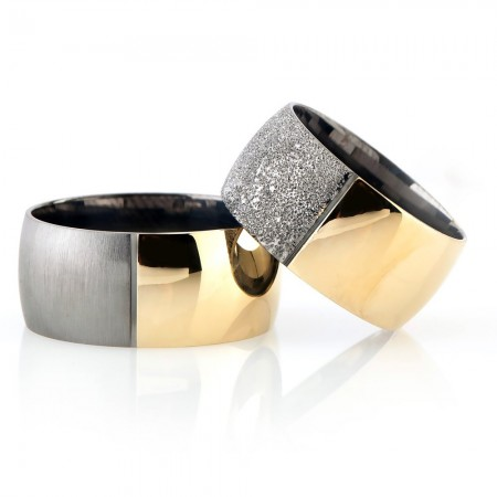 - Klasik Model Gold-Gri Renk 925 Ayar Gümüş Çift Alyans