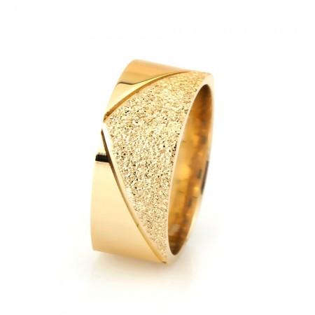 - Üçgen Tasarım Gold Renk 925 Ayar Gümüş Bayan Alyans