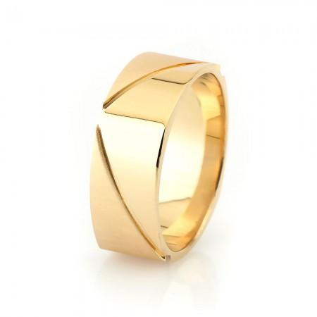 Tesbihane - Köşeli Tasarım Gold Renk 925 Ayar Gümüş Erkek Alyans