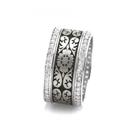 Tesbihane - Çiçek Desen İşlemeli Zirkon Taşlı 925 Ayar Gümüş Bayan Alyans