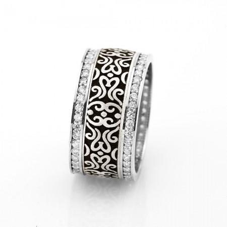 - Klasik Doğu Motif İşlemeli Zirkon Taşlı 925 Ayar Gümüş Bayan Alyans