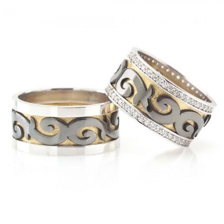 - Klasik Motifli 925 Ayar Gümüş Çift Alyans