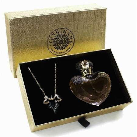 Tesbihane - Zirkon Taşlı Çınar Yaprağı 925 Ayar Gümüş Bayan Kolye ve Parfüm Seti