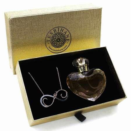 Tesbihane - Zirkon Taşlı Rose Renk 925 Ayar Gümüş Sonsuzluk Bayan Kolye ve Parfüm Seti