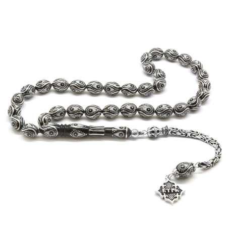 Tesbihane - 925 Ayar Gümüş Kral Püsküllü Gümüş-Mine İşlemeli Erzurum Oltu Taşı Tesbih
