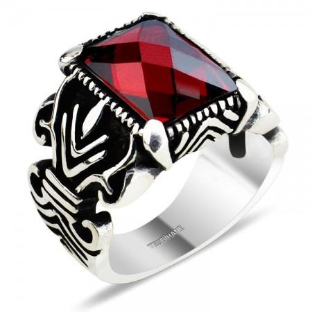 - 925 Ayar Gümüş Kristal (Kırmızı) Zirkon Taşlı Yüzük (KR0023)