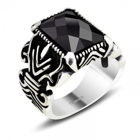 Tesbihane - 925 Ayar Gümüş Kristal (Siyah) Zirkon Taşlı Yüzük