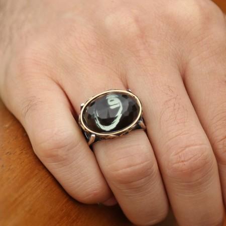 - 925 Ayar Gümüş Kristal Taşlı Oval Model Vav Harfi Yüzük