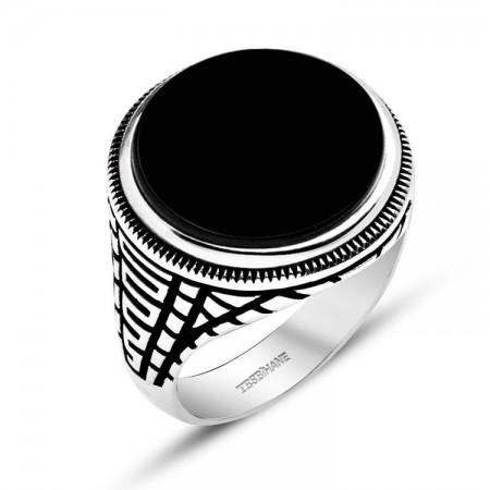 Tesbihane - 925 Ayar Gümüş Kristal Taşlı Oval Model Yüzük