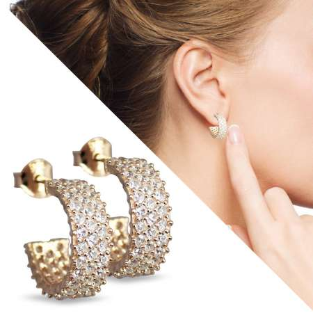 Beyaz Zirkon Taşlı Yarım Tur Gold Renk 925 Ayar Gümüş Küpe - Thumbnail